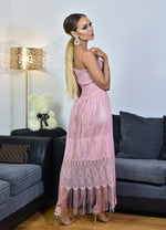 Thalia Pink Shirred Bodice Tassel Lace Tube Dress - Missfiga.com