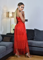 Thalia Red Shirred Bodice Tassel Lace Tube Dress