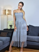 Thalia Grey Shirred Bodice Tassel Lace Tube Dress