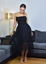 Thalia Black Shirred Bodice Tassel Lace Tube Dress