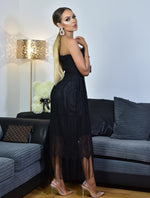 Thalia Black Shirred Bodice Tassel Lace Tube Dress - Missfiga.com