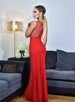 Oscar Red Sequin Mesh Detail Sleeveless Maxi Dress - Missfiga.com