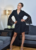 Victoria Black Flared Lace Sleeve  Blazer Dress
