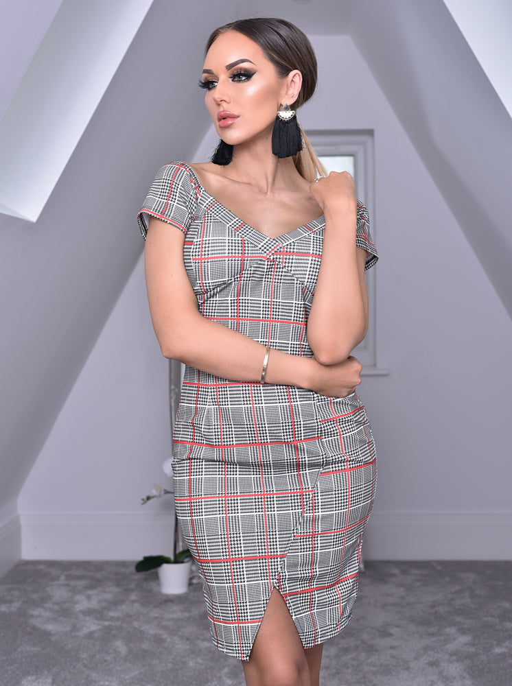 Georgia Red Houndstooth Split Hem Off the Shoulder Dress