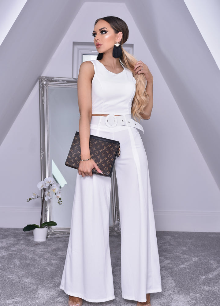 Imogen Ivory Crop Top and Belted Palazzo Co-ord Set - Missfiga.com