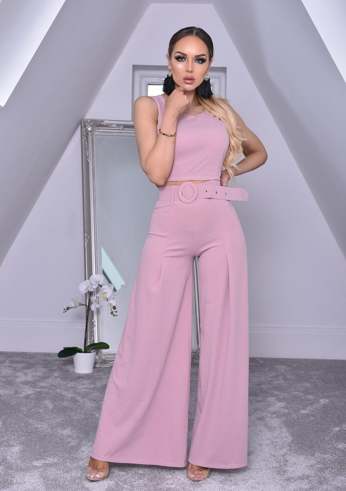 Imogen Pink Crop Top and Belted Palazzo Co-ord Set.