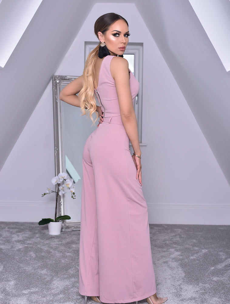 Imogen Pink Crop Top and Belted Palazzo Co-ord Set. - Missfiga.com