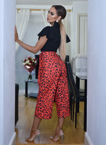 Emily Red Animal Frill Sleeve Culotte Jumpsuit