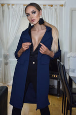Amster Navy Mock Pocket Duster Jacket