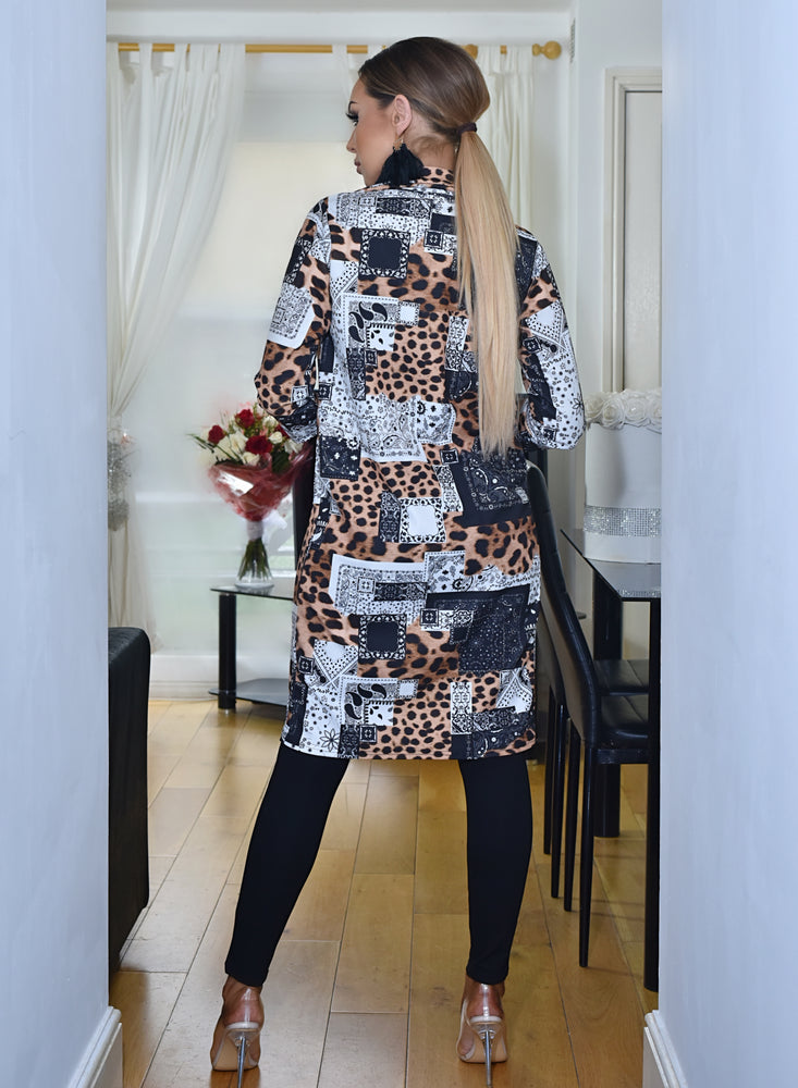 Elenor Animal Scarf Print Mock Pocket Duster Jacket