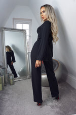 Tessa Black Turtle Neck Long Sleeve Jumpsuit - Missfiga.com