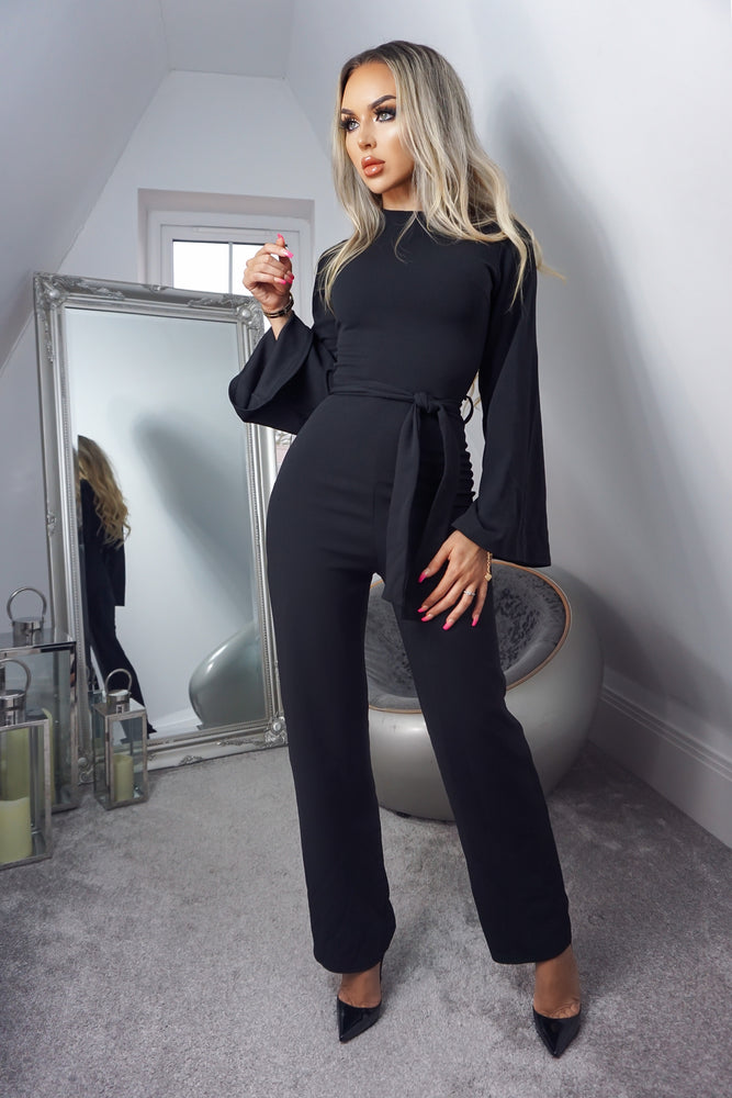 Tessa Black Turtle Neck Long Sleeve Jumpsuit