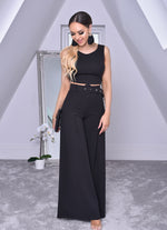 Imogen Black Crop Top and Belted Palazzo Co-ord Set - Missfiga.com