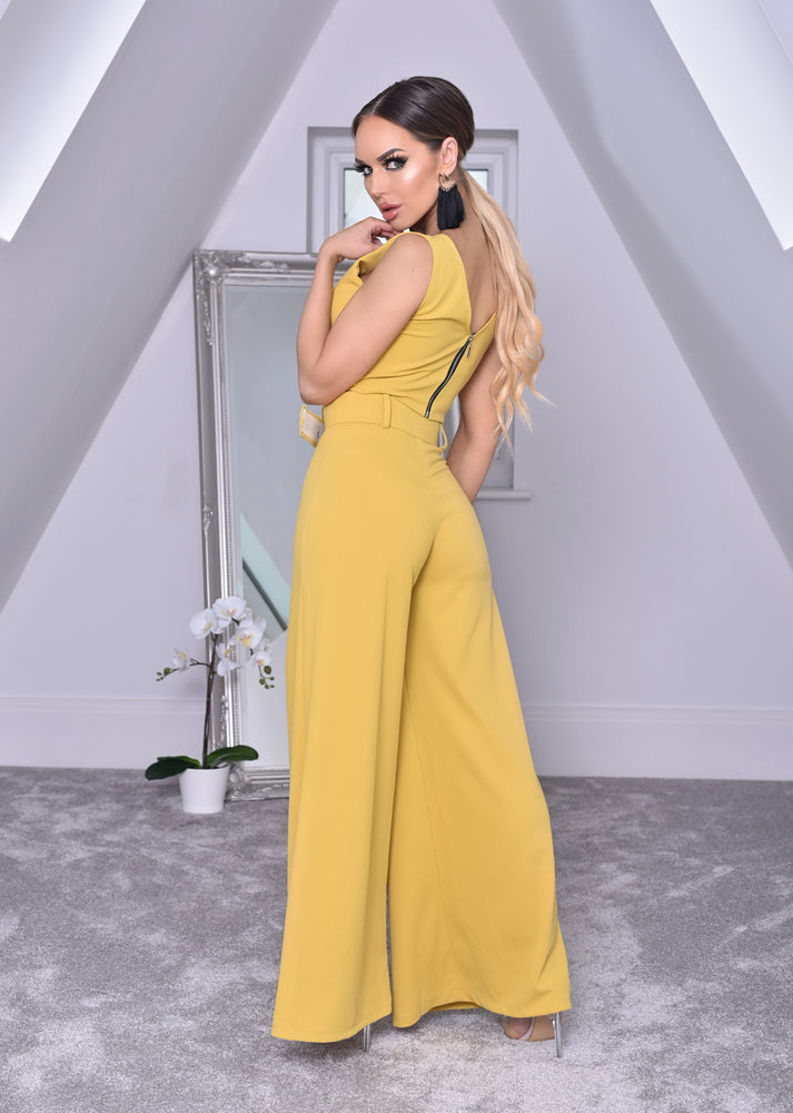 Imogen Saffron Crop Top and Belted Palazzo Co-ord Set - Missfiga.com