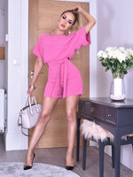 Deliah Hot Pink Batwing Wrapped Front Playsuit
