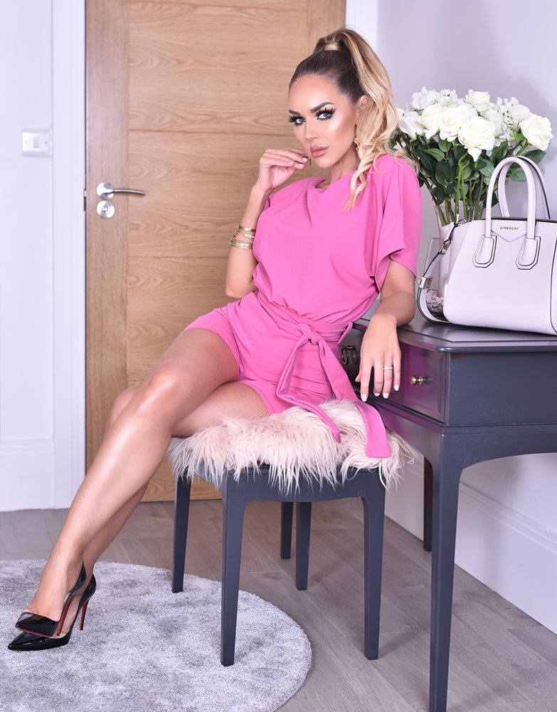 Deliah Hot Pink Batwing Wrapped Front Playsuit - Missfiga.com