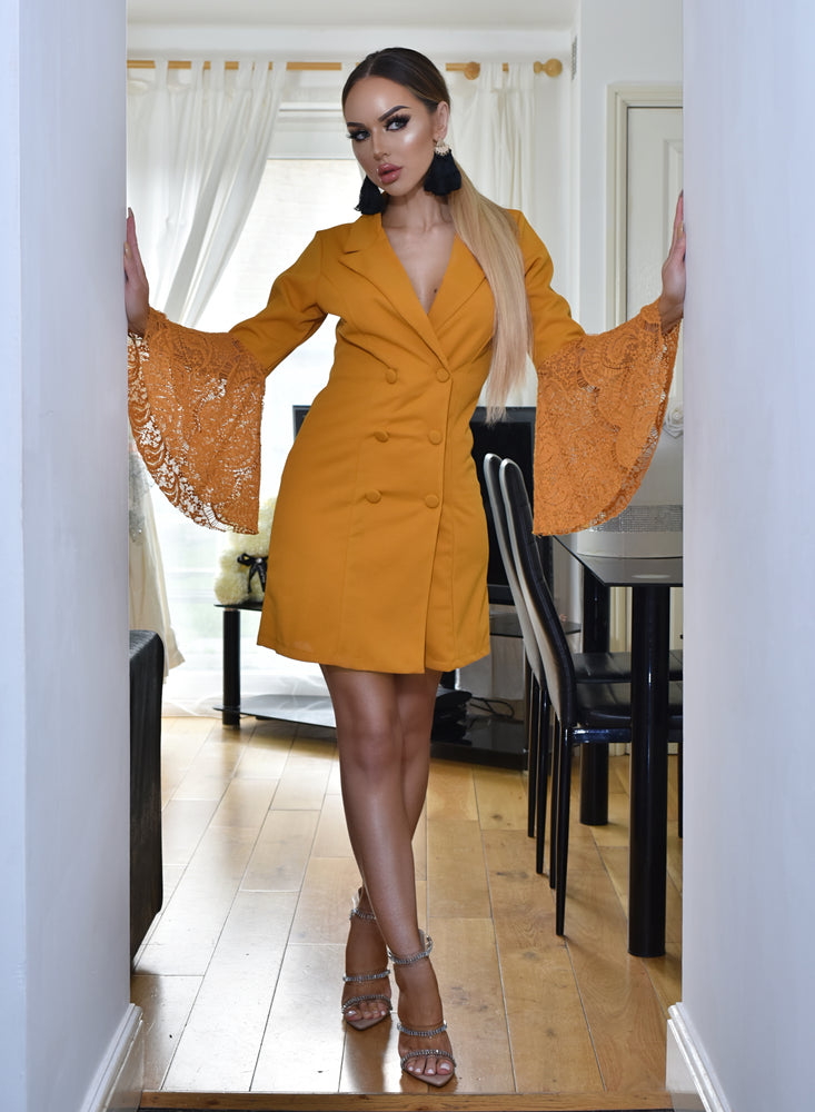 Victoria Mustard Flared Lace Sleeve  Blazer Dress