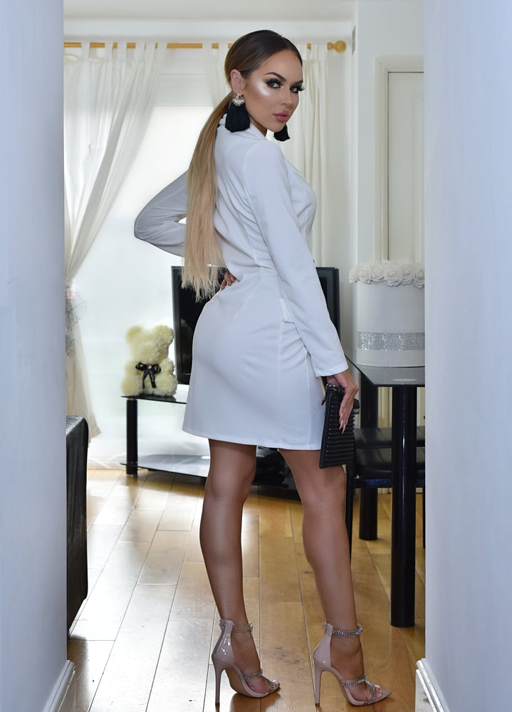 Valentina Luxe Ivory Button Detail Mock Pocket Long Sleeve Blazer Dress