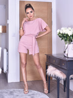 Deliah Blush Batwing Wrapped Front Playsuit