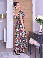 Makayla Black Tropical Wrap Slit Maxi Dress - Missfiga.com