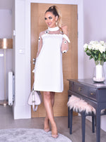 Trudy Ivory Mesh Yoke Long Sleeve Midi Dress.