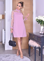 Trudy Pink Mesh Yoke Long Sleeve Midi Dress