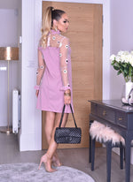 Trudy Pink Mesh Yoke Long Sleeve Midi Dress - Missfiga.com