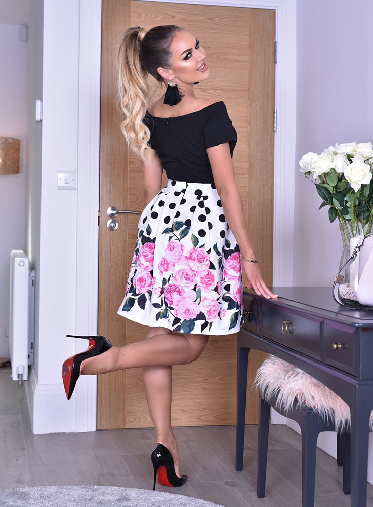 Kaia Polka Dot Floral Pleated Bardot Skater Dress - Missfiga.com