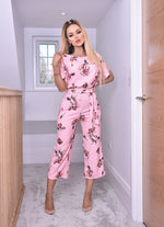 Nancy Pink Floral Sketch Batwing Belted Culotte Jumpsuit