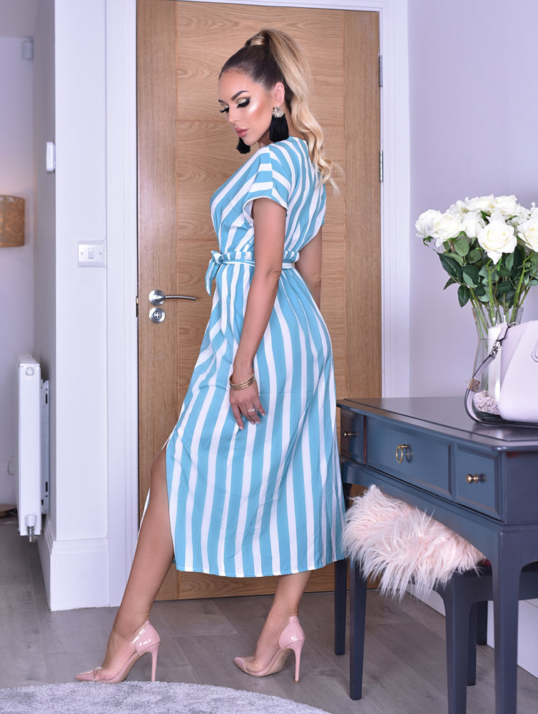 Curtis Teal Pinstripe Wrap Slit Maxi Dress
