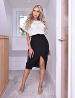 Ivory Lace Contrasting Judith Wrap Batwing Dress