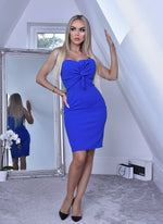 Katrina Royal Blue Knot Bodice Midi Dress - Missfiga.com