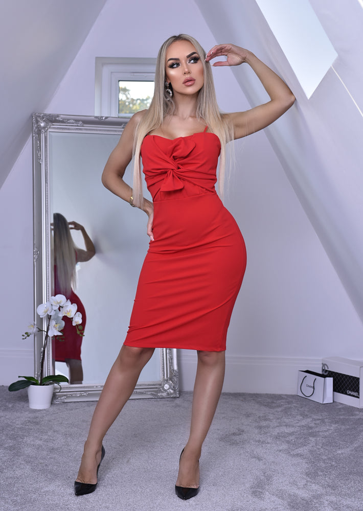 Katrina Red Knot Bodice Midi Dress - Missfiga.com
