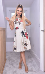Elise Pink Cap Sleeve Floral Skater Dress