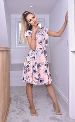 Elise Peach Cap Sleeve Floral Skater Dress - Missfiga.com