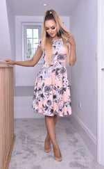 Elise Peach Cap Sleeve Floral Skater Dress