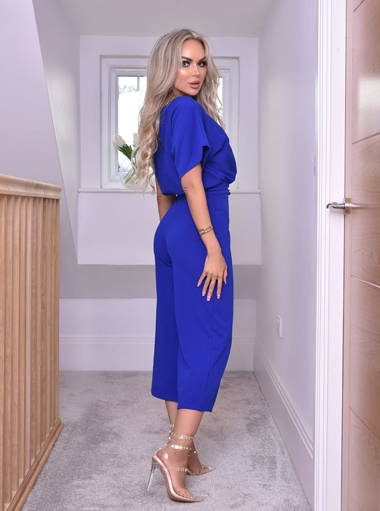 Jessica Batwing Belted Culotte Jump suit Royal Blue - Missfiga.com