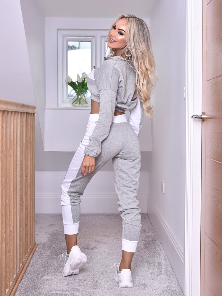 Lilly Cropped Hoodie Striped Bottoms Tracksuit