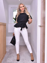 Ruby Black Batwing Belted Peplum Top - Missfiga.com