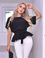Ruby Black Batwing Belted Peplum Top