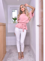Ruby Blush Batwing Belted Peplum Top