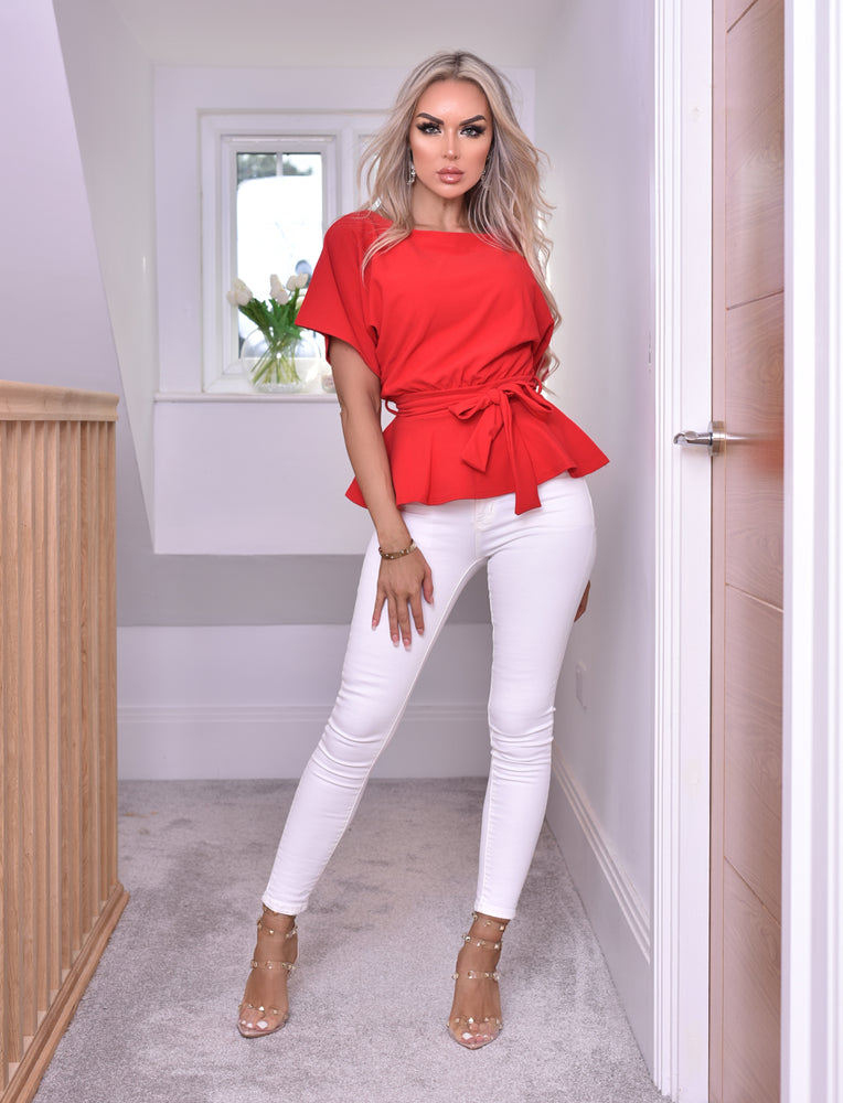 Ruby Red Batwing Belted Peplum Top