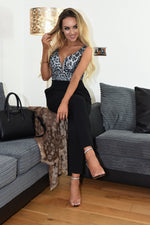Kristie Grey Animal Plunge Jumpsuit
