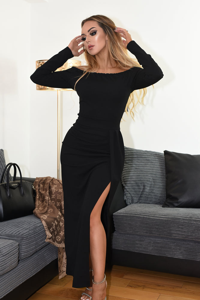 Venice Black Bardot Pleated Slit Maxi Dress - Missfiga.com