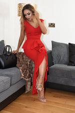 Sydney Red Wrap Fishtail Dipped Maxi Dress