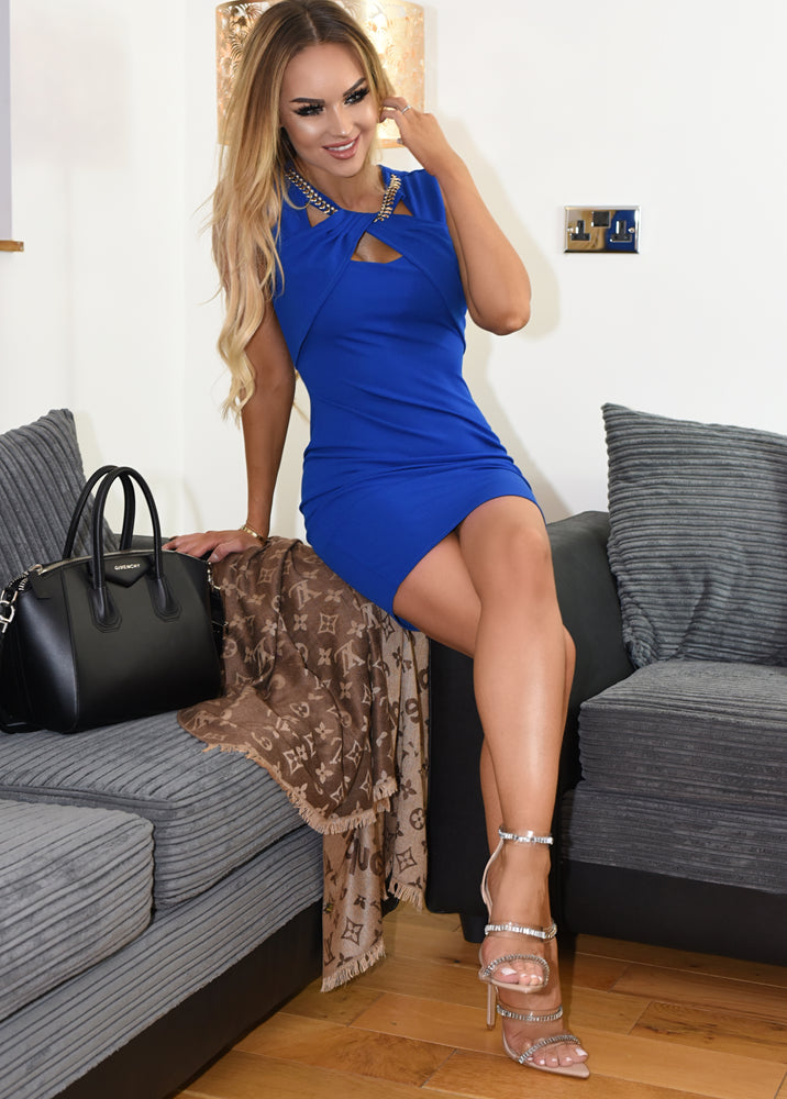 Kesha Royal Blue Embellished Neck Pleated Neck Bodycon