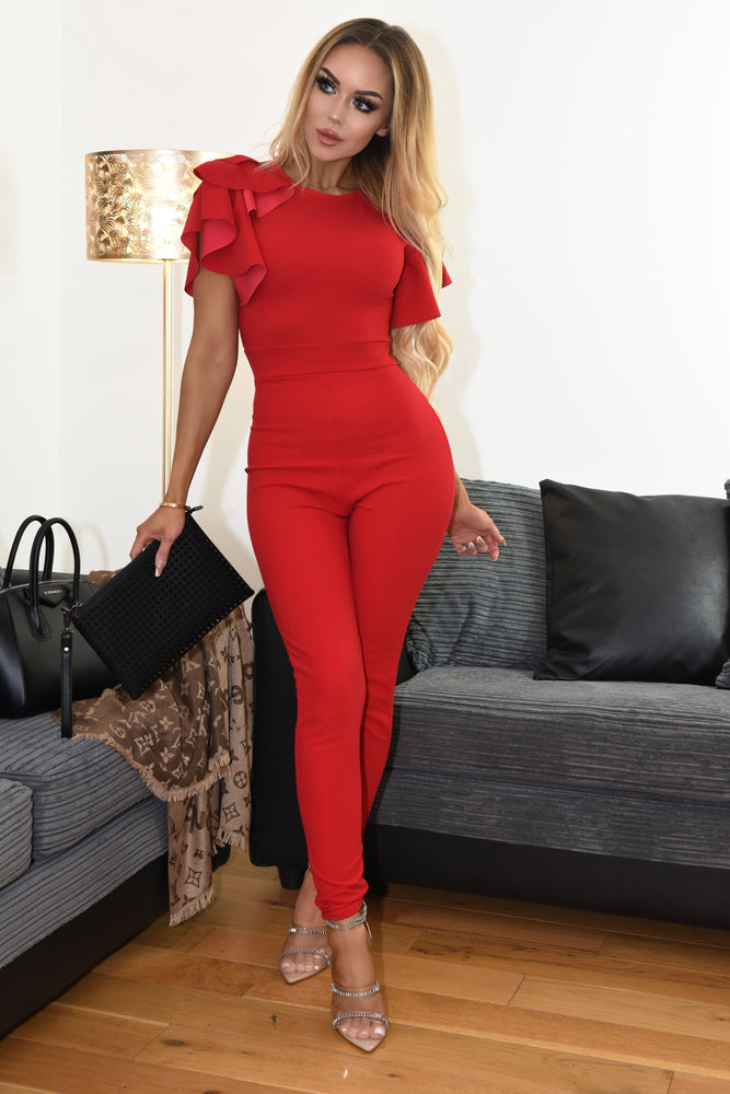 Gabriella Red Double Frill Jumpsuit