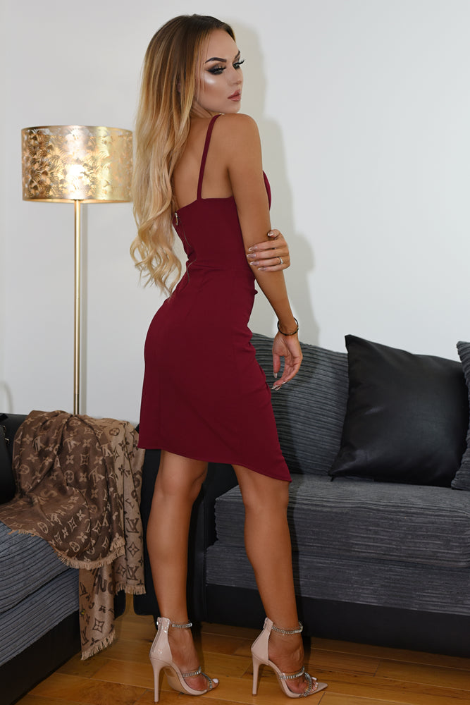 Debra Burgundy Wrap Strappy Midi Dress