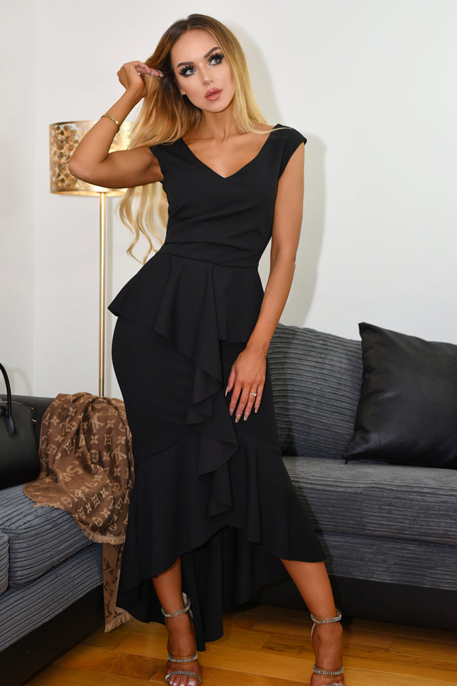 Sydney Black Wrap Fishtail Dipped Maxi Dress