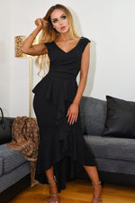 Sydney Black Wrap Fishtail Dipped Maxi Dress - Missfiga.com